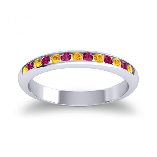 Half Eternity Ceda Citrine Band with Ruby in 14k White Gold