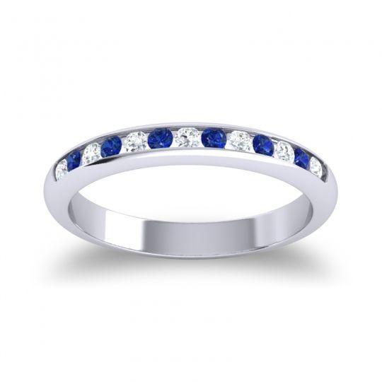Half Eternity Ceda Diamond Band with Blue Sapphire in Palladium