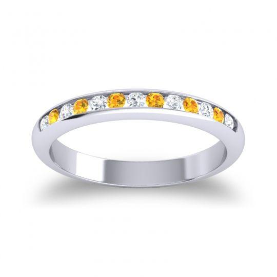 Half Eternity Ceda Diamond Band with Citrine in 14k White Gold
