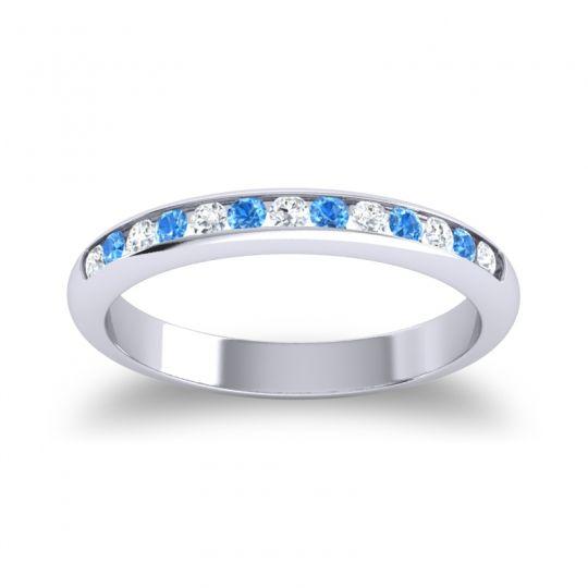Half Eternity Ceda Diamond Band with Swiss Blue Topaz in 14k White Gold