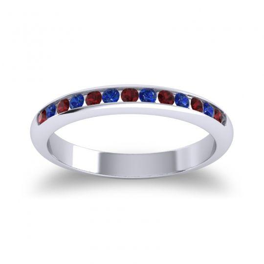 Half Eternity Ceda Garnet Band with Blue Sapphire in 14k White Gold