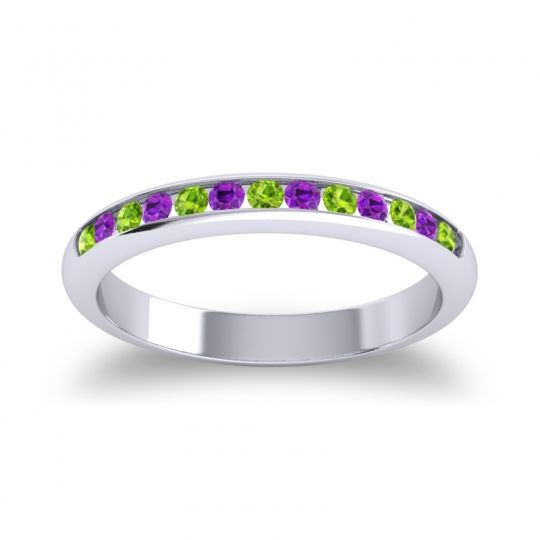 Half Eternity Ceda Peridot Band with Amethyst in 14k White Gold
