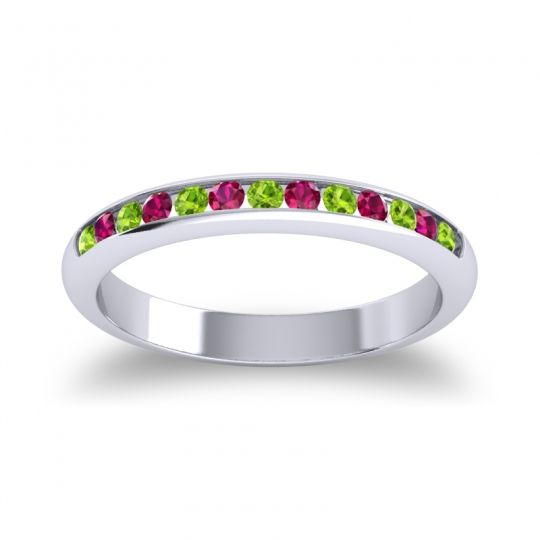 Half Eternity Ceda Peridot Band with Ruby in 14k White Gold