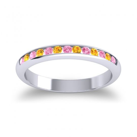 Half Eternity Ceda Pink Tourmaline Band with Citrine in 18k White Gold