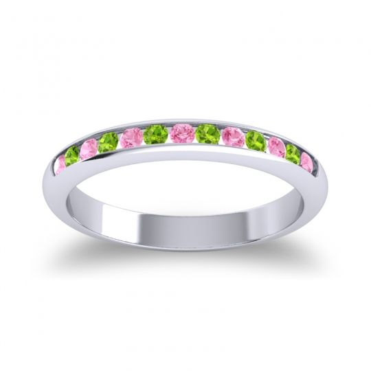 Half Eternity Ceda Pink Tourmaline Band with Peridot in 14k White Gold