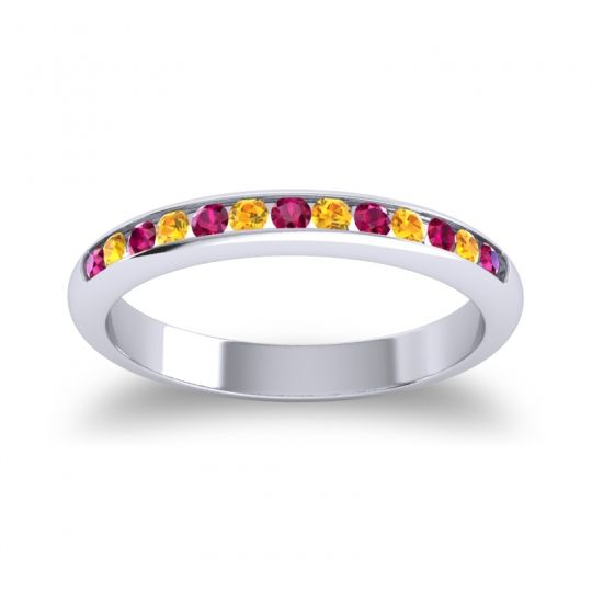 Half Eternity Ceda Ruby Band with Citrine in 14k White Gold