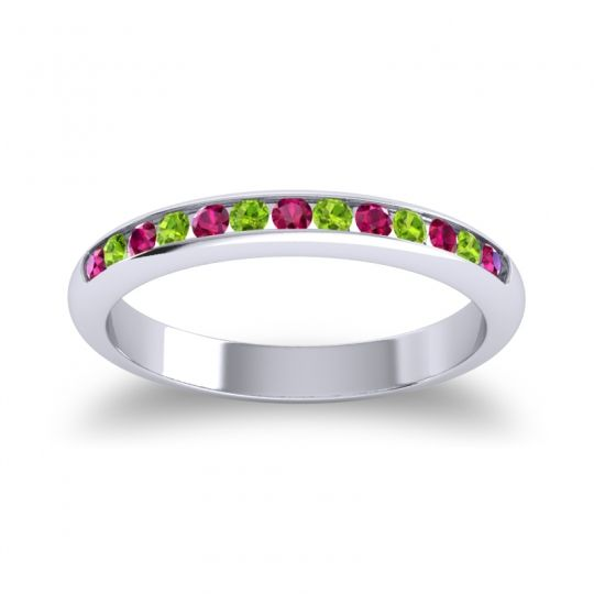 Half Eternity Ceda Ruby Band with Peridot in 14k White Gold