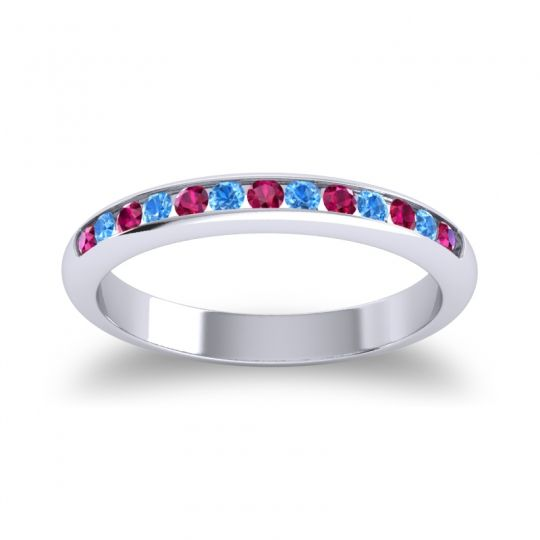 Half Eternity Ceda Ruby Band with Swiss Blue Topaz in 14k White Gold