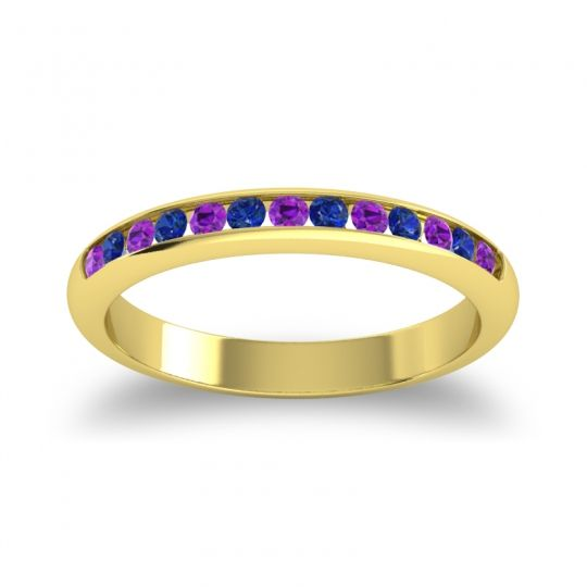 Half Eternity Ceda Amethyst Band with Blue Sapphire in 14k Yellow Gold
