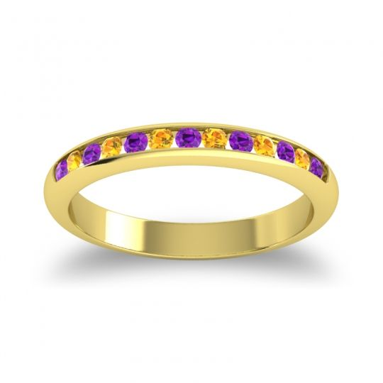Half Eternity Ceda Amethyst Band with Citrine in 18k Yellow Gold