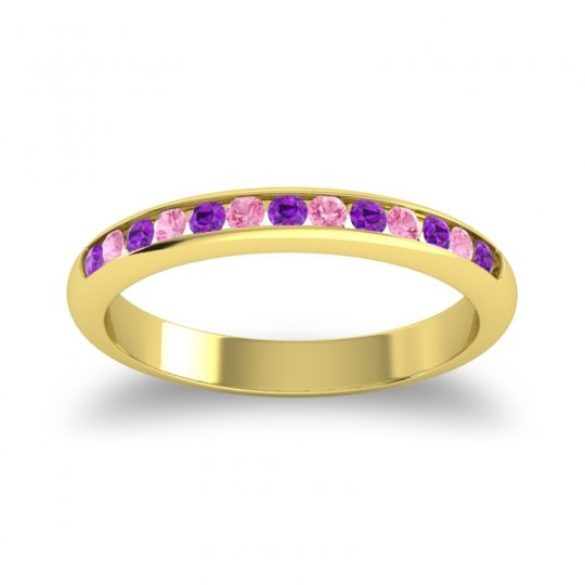 Half Eternity Ceda Amethyst Band with Pink Tourmaline in 18k Yellow Gold