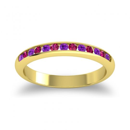 Half Eternity Ceda Amethyst Band with Ruby in 14k Yellow Gold