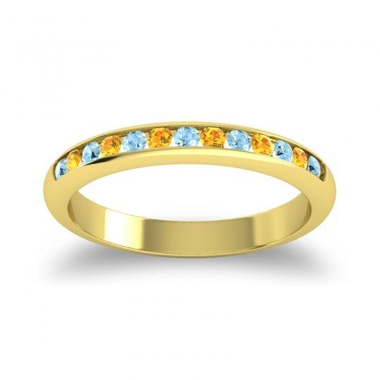 Half Eternity Ceda Aquamarine Band with Citrine in 14k Yellow Gold