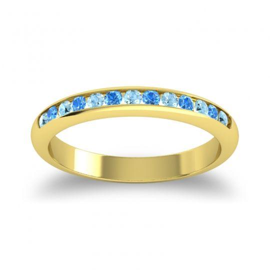 Half Eternity Ceda Aquamarine Band with Swiss Blue Topaz in 14k Yellow Gold