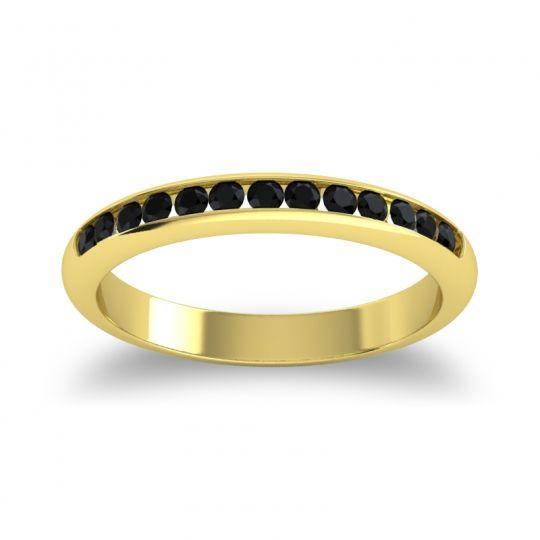 Half Eternity Ceda Black Onyx Band in 18k Yellow Gold