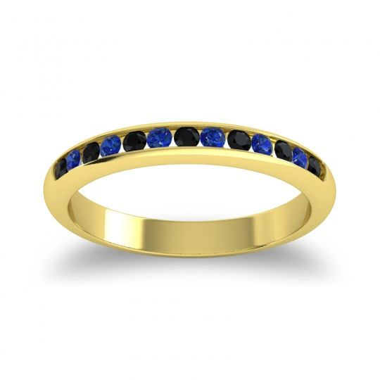 Half Eternity Ceda Black Onyx Band with Blue Sapphire in 14k Yellow Gold
