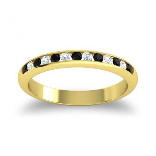 Half Eternity Ceda Black Onyx Band with Diamond in 14k Yellow Gold
