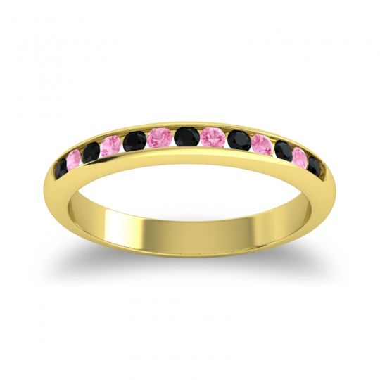 Half Eternity Ceda Black Onyx Band with Pink Tourmaline in 18k Yellow Gold
