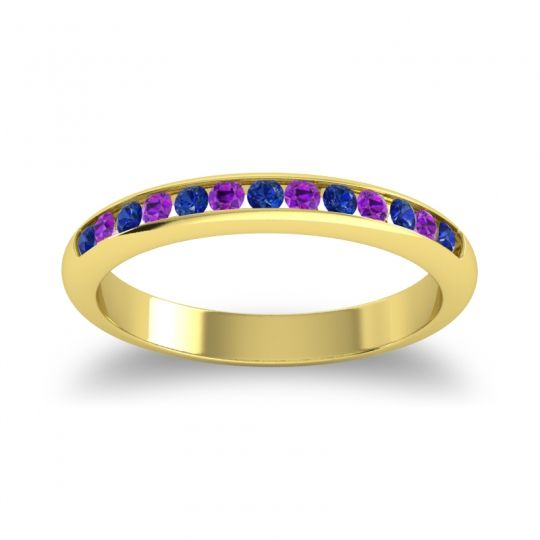 Half Eternity Ceda Blue Sapphire Band with Amethyst in 18k Yellow Gold