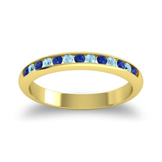 Half Eternity Ceda Blue Sapphire Band with Aquamarine in 14k Yellow Gold