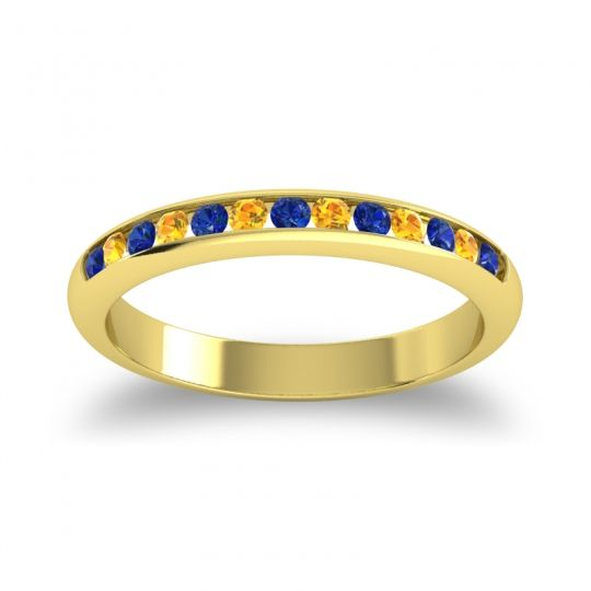 Half Eternity Ceda Blue Sapphire Band with Citrine in 14k Yellow Gold