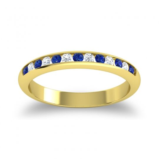 Blue Sapphire Half Eternity Ceda Band with Diamond in 14k Yellow Gold