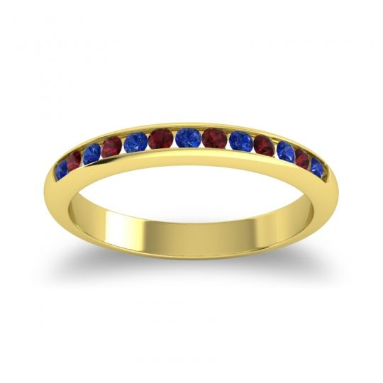 Half Eternity Ceda Blue Sapphire Band with Garnet in 14k Yellow Gold