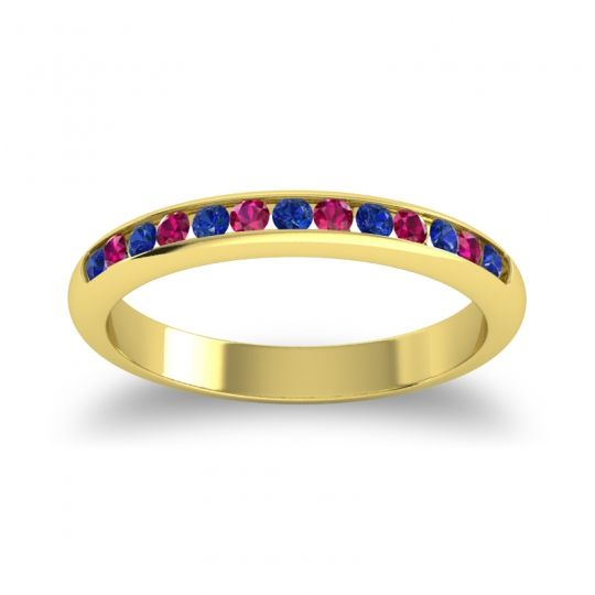 Half Eternity Ceda Blue Sapphire Band with Ruby in 18k Yellow Gold