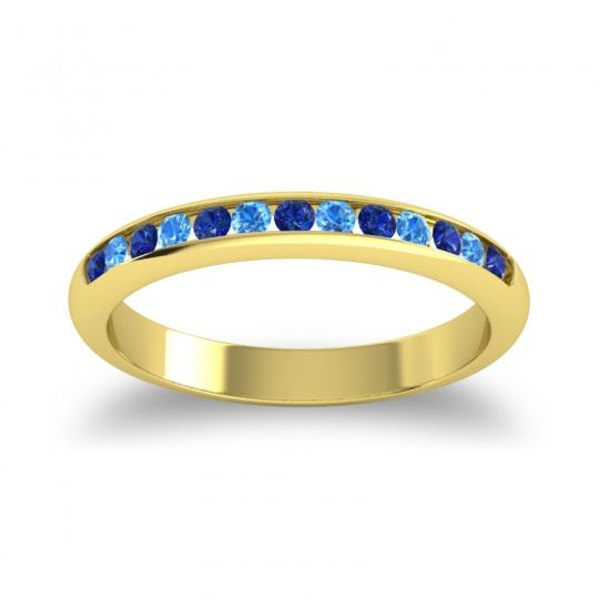 Half Eternity Ceda Blue Sapphire Band with Swiss Blue Topaz in 18k Yellow Gold