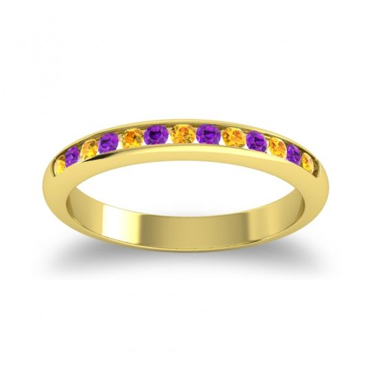 Half Eternity Ceda Citrine Band with Amethyst in 14k Yellow Gold