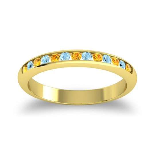 Half Eternity Ceda Citrine Band with Aquamarine in 18k Yellow Gold