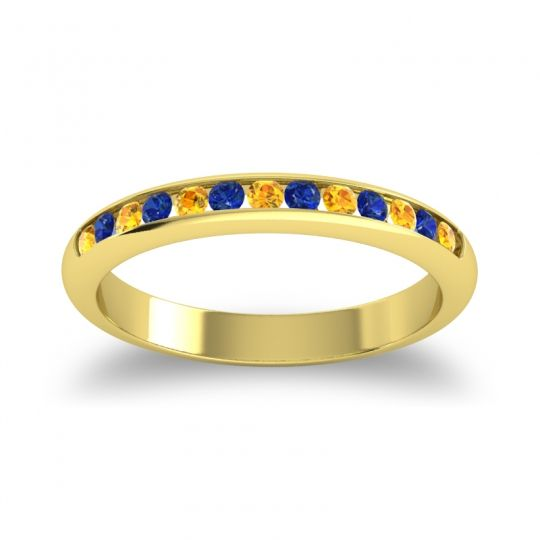 Half Eternity Ceda Citrine Band with Blue Sapphire in 18k Yellow Gold