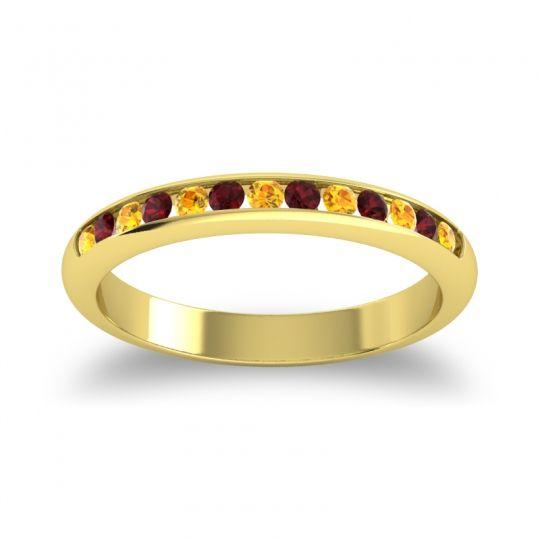 Half Eternity Ceda Citrine Band with Garnet in 14k Yellow Gold