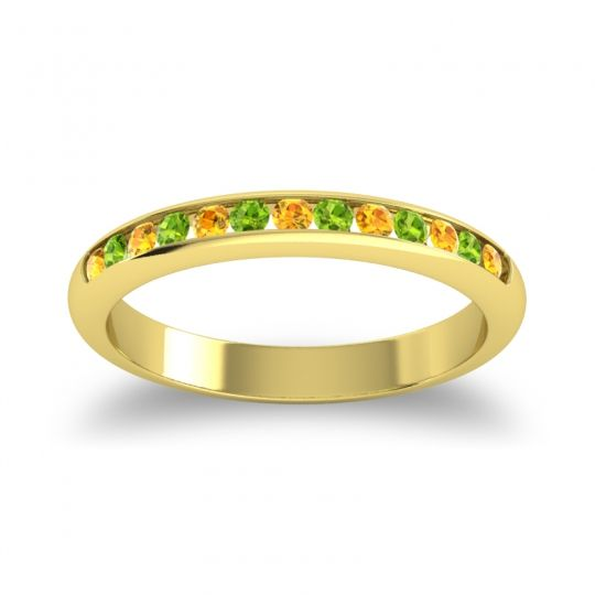 Half Eternity Ceda Citrine Band with Peridot in 14k Yellow Gold