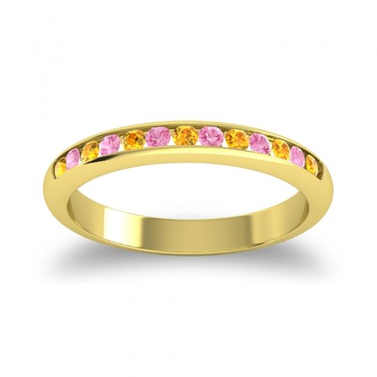 Half Eternity Ceda Citrine Band with Pink Tourmaline in 18k Yellow Gold