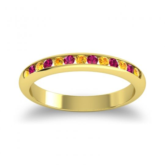Half Eternity Ceda Citrine Band with Ruby in 18k Yellow Gold