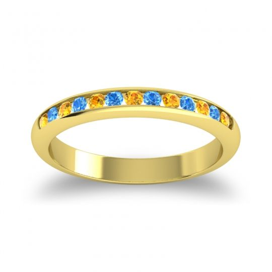 Half Eternity Ceda Citrine Band with Swiss Blue Topaz in 14k Yellow Gold