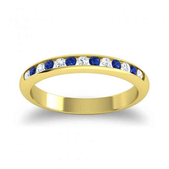 Half Eternity Ceda Diamond Band with Blue Sapphire in 14k Yellow Gold