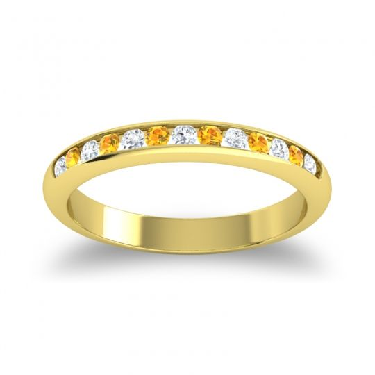 Half Eternity Ceda Diamond Band with Citrine in 14k Yellow Gold