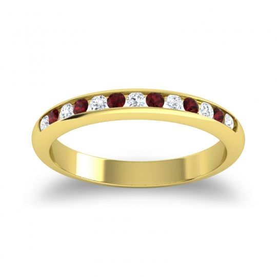 Half Eternity Ceda Diamond Band with Garnet in 18k Yellow Gold