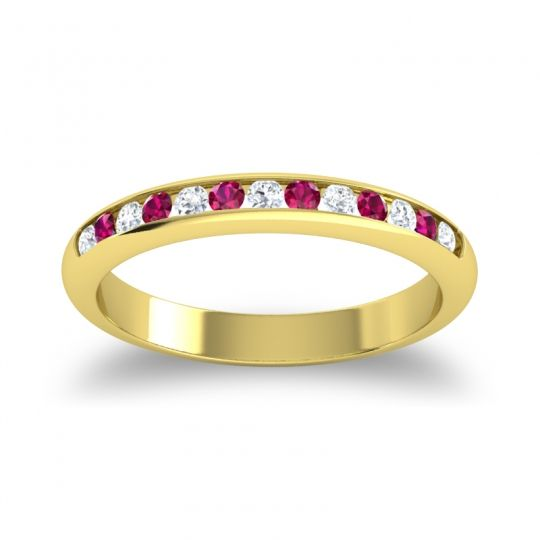Half Eternity Ceda Diamond Band with Ruby in 14k Yellow Gold
