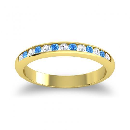 Half Eternity Ceda Diamond Band with Swiss Blue Topaz in 14k Yellow Gold