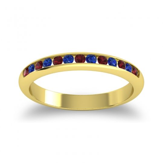 Half Eternity Ceda Garnet Band with Blue Sapphire in 14k Yellow Gold