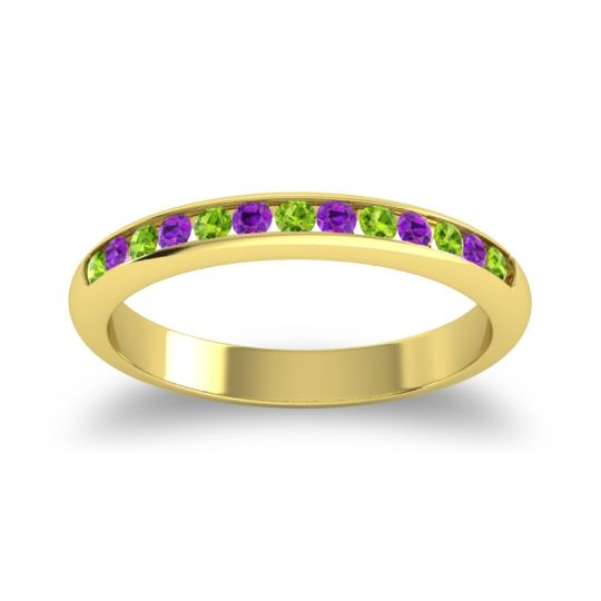 Half Eternity Ceda Peridot Band with Amethyst in 18k Yellow Gold