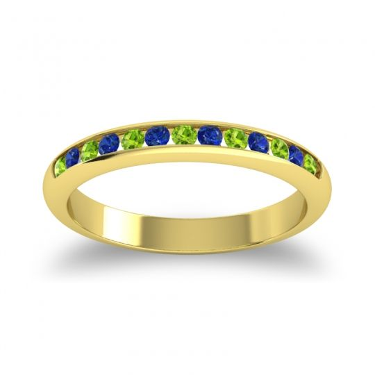 Half Eternity Ceda Peridot Band with Blue Sapphire in 14k Yellow Gold