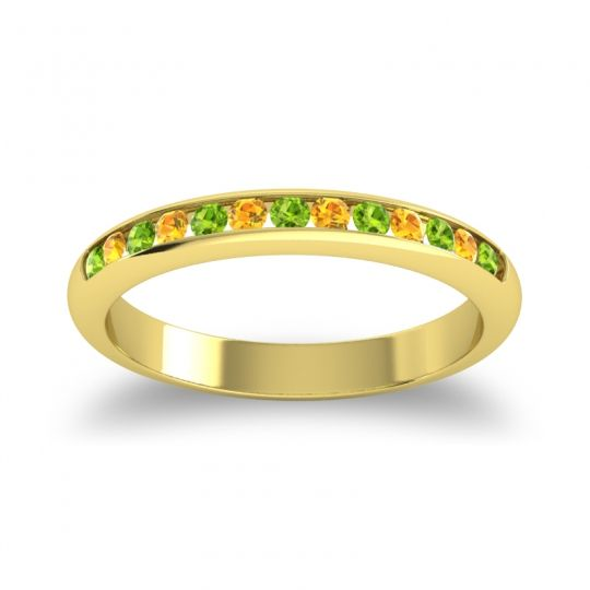 Half Eternity Ceda Peridot Band with Citrine in 18k Yellow Gold