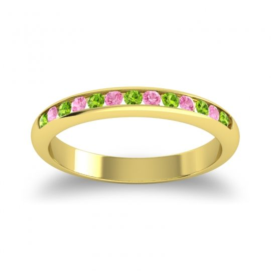 Half Eternity Ceda Peridot Band with Pink Tourmaline in 14k Yellow Gold