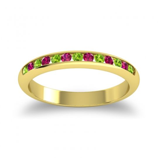 Half Eternity Ceda Peridot Band with Ruby in 18k Yellow Gold