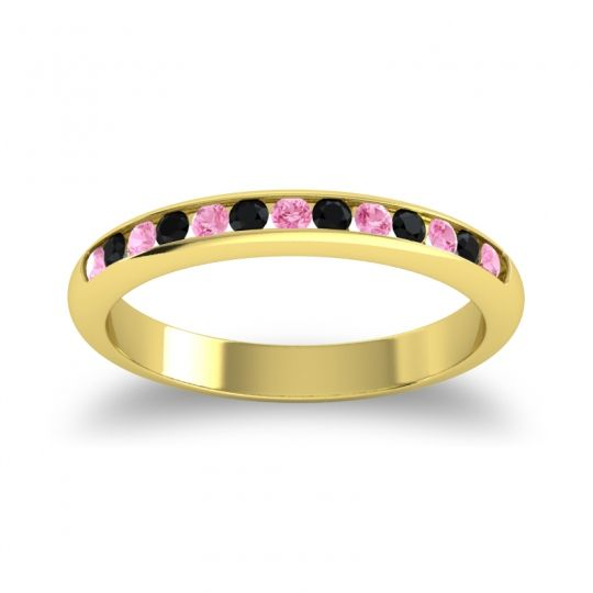 Half Eternity Ceda Pink Tourmaline Band with Black Onyx in 14k Yellow Gold