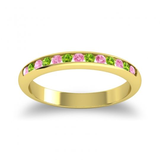 Half Eternity Ceda Pink Tourmaline Band with Peridot in 14k Yellow Gold